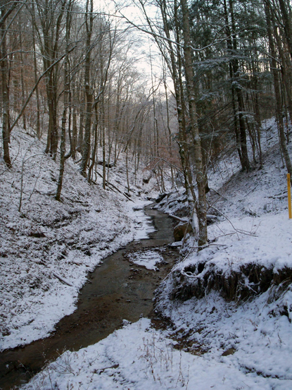 The creek that runs beside the hiked hill - with snow