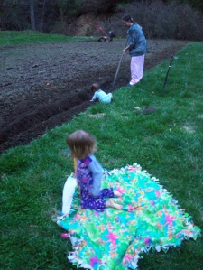 Potato Planting at Dusk in Pajamas