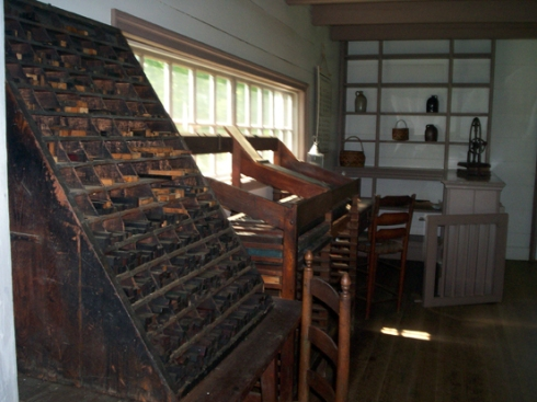The rack holding the typeface used to print The Cherokee Phoenix and other printed materials in both the Cherokee language and English