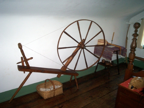 There was a spinning wheel and/or loom in every dwelling from the middle class up.