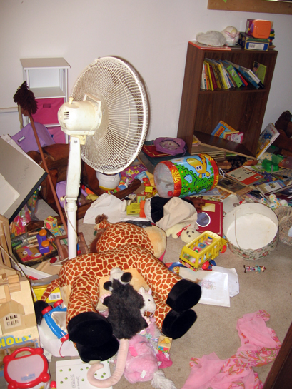 After a day of play... I clean this mess.